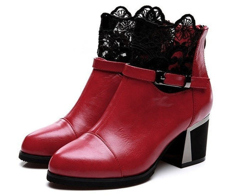 Fashion Genuine Leather Lace & Buckle Accent Ankle Boots 2 Color Options-Loluxe