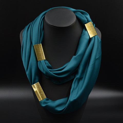 Fashion Gold-Plated Decorative Long Silk Ladies Scarf 9 Colors-Loluxe