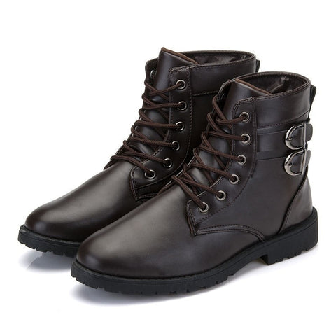 Fashion Men's Top Quality Leather Ankle Buckle Accent Boots 4 Colors-Loluxe