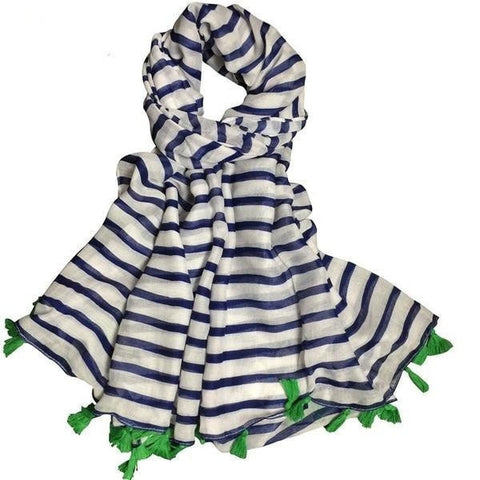 Fashion Navy Stripe Green Tassel Fringe-Accent Long Ladies Scarf-Loluxe