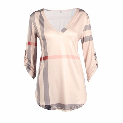 Fashion Plaid V-Neck Pull-Over Casual Top S-3XL 3 Colors-Loluxe