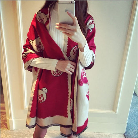 Fashion Quality Bear Print Dual-Colored Women's Cashmere Shawl Scarf 5 Colors-Loluxe