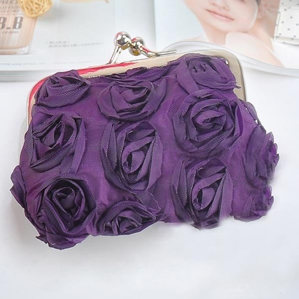 Fashion Rose 3D Flower Candy Color Women Cute Coin Purse-coin purse wallet clutch-Loluxe