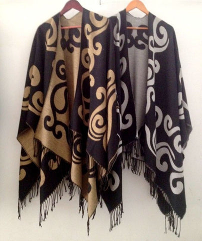 Fashion Scroll Print Long Tassel Fringe Accent Oversize Poncho Shawl Scarf 2 Colors-Loluxe