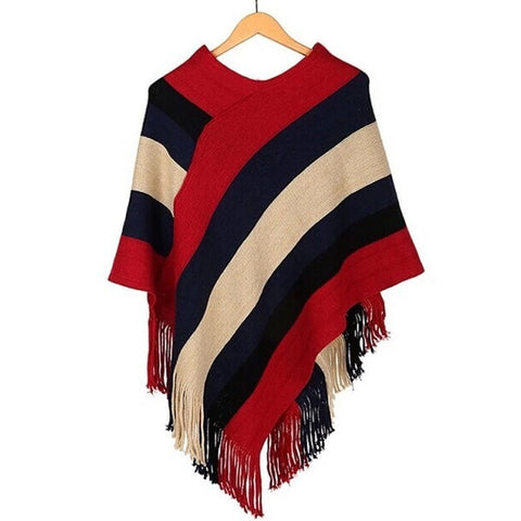 Fashion Stripe Color-Block Casual Fringe Trim Knitted Winter Shawl Poncho Scarf 3 Colors-Loluxe