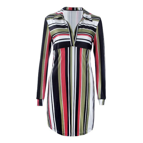 Fashion Stripe High-Waist Long-Sleeve Office Dress S-XL 3 Colors-Loluxe