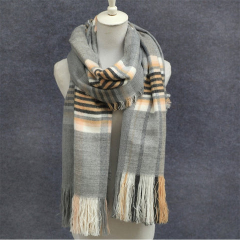 Fashion Stripe Print Fringe Accent Thick Warm Soft Shawl Scarf 4 Colors-Loluxe