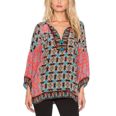 Fashion Tribal-Print Split V-Neck Lightweight Women's Top S-L-Loluxe