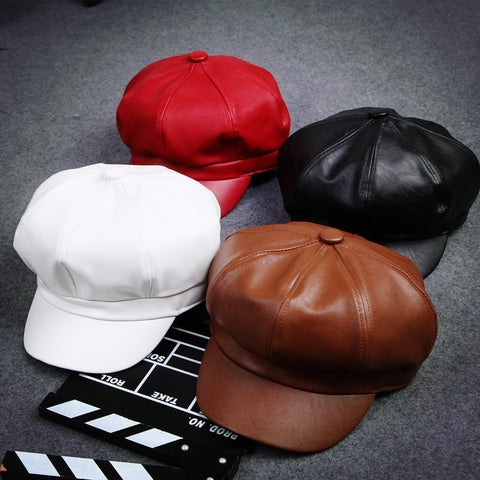 Fashion Vintage-Style PU Leather Boy Cap Hat 11 Colors-Loluxe