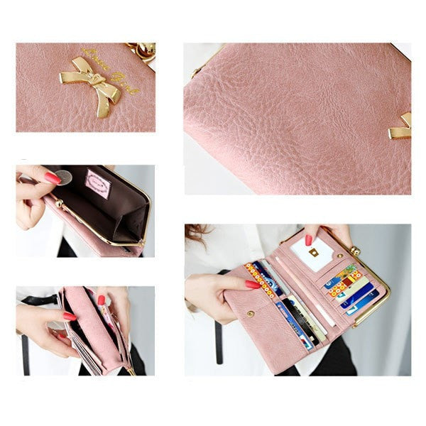 Fashion Women Bowtie Long Zipper Purse Wallet-coin purse wallet clutch-Loluxe