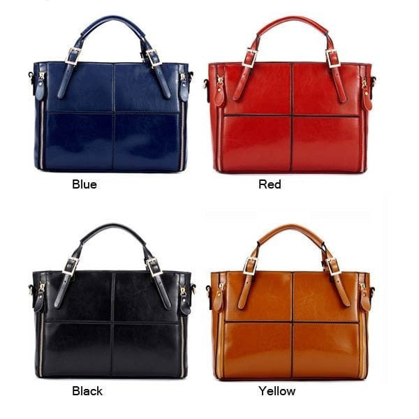 Fashion Women PU Leather Handbag Cowhide Patchwork Shoulder Bag-Handbags-Loluxe