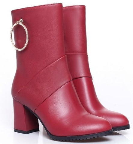Fashionista Genuine Leather Jewel Accent Ankle Boots 2 Colors-Loluxe