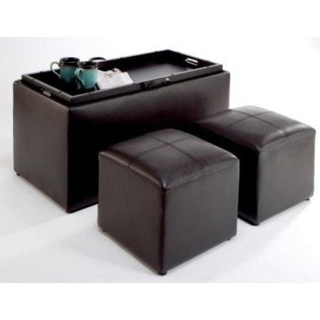 Faux Leather Storage Bench Coffee Table with 2 Side Ottomans-Living Room > Coffee Tables-Loluxe