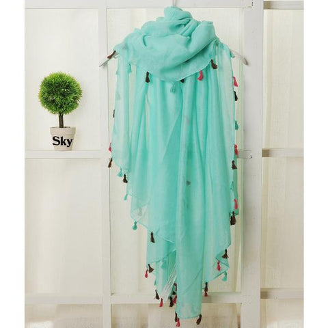 Feminine Colorful Tassel-Accent Long Fashion Women's Scarf 9 Colors-Loluxe