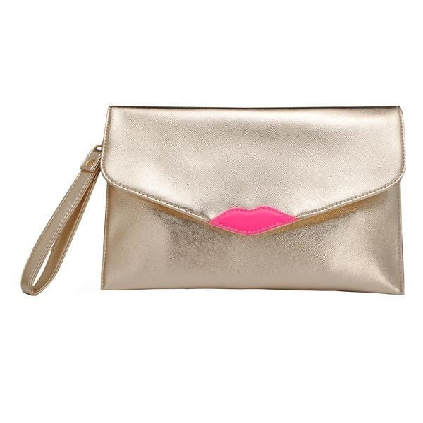 Flap Wristlet Wallet with Lip Print-Handbags-Loluxe
