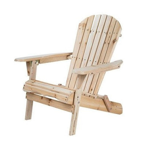 Folding Adirondack Chair for Patio Garden in Natural Wood Finish-Outdoor > Outdoor Furniture > Adirondack Chairs-Loluxe