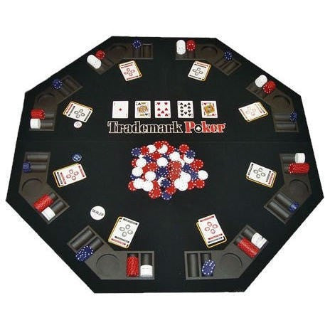 Folding Poker Table Top and Chip Set - Easy to Transport-Game Room > Poker Tables-Loluxe