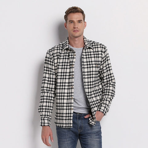 For Cool Summer Nights! Men's Lightweight Flannel Long-Sleeve Plaid Casual Cotton Shirt M-5XL-Loluxe