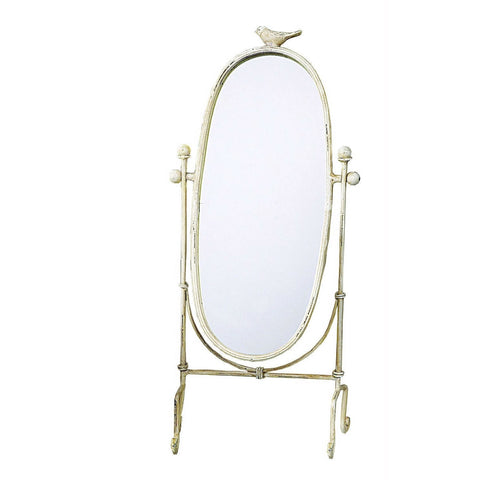 Freestanding Table or Counter Top Vanity Mirror in Antique Ivory Finish-Accents > Mirrors-Loluxe