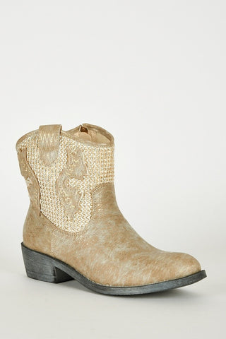 Frosted Look Leatherette Detailed Cowboy Boots-Footwear > Boots-Loluxe