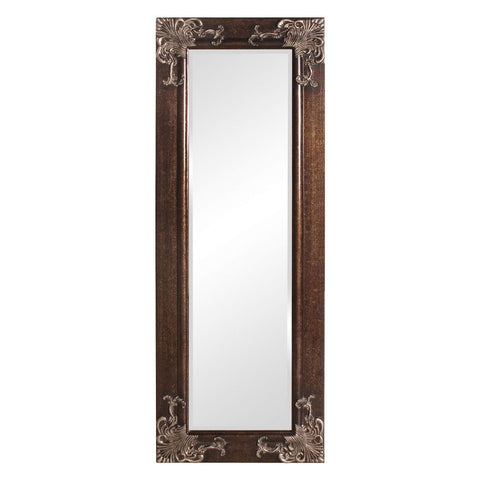Full Length 63-in Wall Mirror with Quality Wood Frame and Antique Silver Gold Accents-Accents > Mirrors-Loluxe