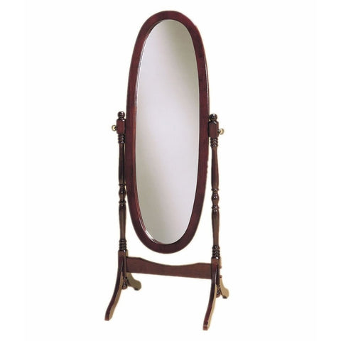 Full Length Oval Cheval Mirror in Cherry Finish-Accents > Mirrors-Loluxe