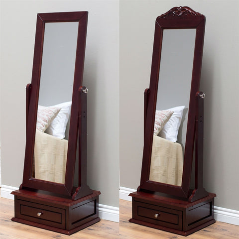 Full Length Tilting Cheval Mirror in Cherry Wood Finish with Storage Drawer-Accents > Mirrors-Loluxe