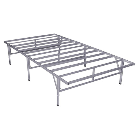 Full Metal Platform Bed Frame in Grey Silver Finish-Bedroom > Bed Frames > Platform Beds-Loluxe