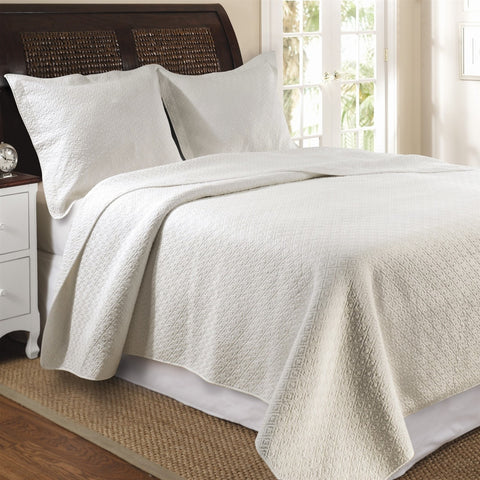 Full / Queen 100% Cotton Quilt Set in Ivory with Diamond Pattern-Bedroom > Quilts & Blankets-Loluxe
