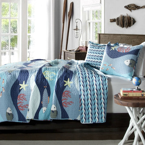 Full / Queen Blue Serenity Sea Fish Coral Coverlet Quilt Bedspread Set-Bedroom > Comforters and Sets-Loluxe