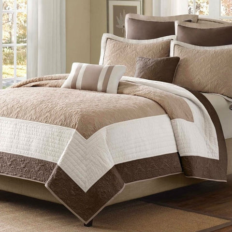 Full / Queen Brown Ivory Tan Cream 7 Piece Quilt Coverlet Bedspread Set-Bedroom > Quilts & Blankets-Loluxe