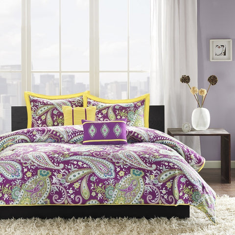 Full / Queen Comforter Set Purple Yellow Green Paisley Pattern-Bedroom > Comforters and Sets-Loluxe