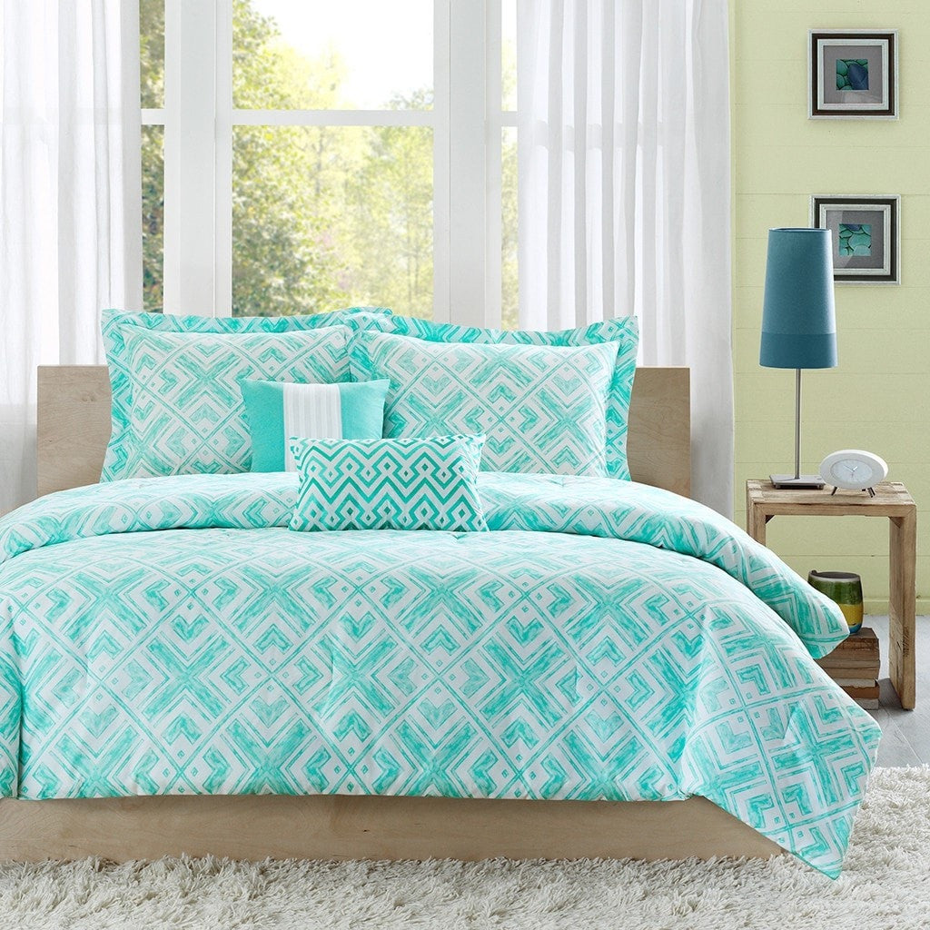 Light Teal Bedroom Full Queen Comforter Set W Geometric Light Teal Squares Loluxe