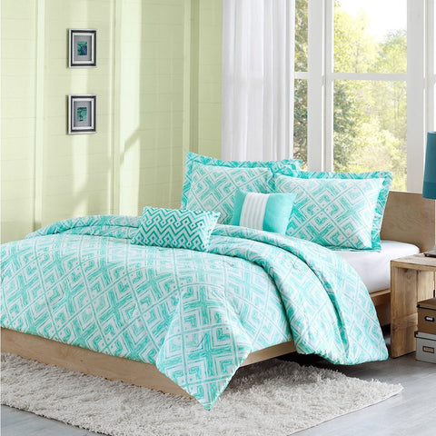 Full / Queen Comforter Set w/ Geometric Light Teal Squares-Bedroom > Comforters and Sets-Loluxe