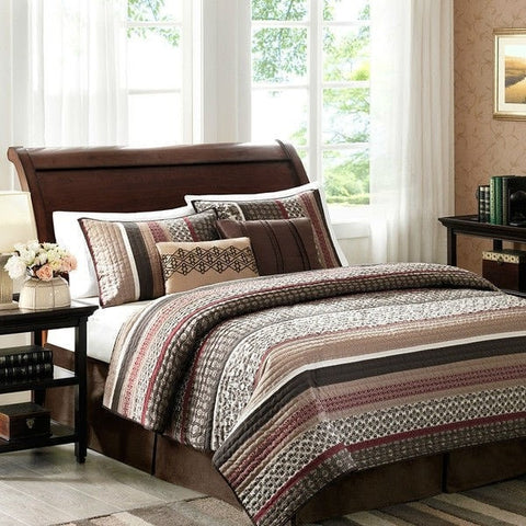 Full / Queen Red Cream Espresso Leaf Stripped 5 Piece Quilt Coverlet Set-Bedroom > Quilts & Blankets-Loluxe