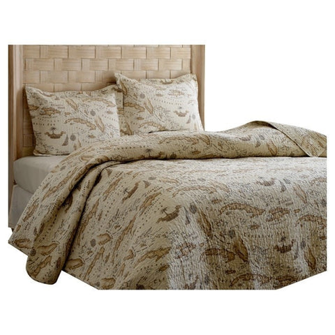 Full / Queen size 100% Cotton Caribbean Map Reversible Quilt Set-Bedroom > Quilts & Blankets-Loluxe