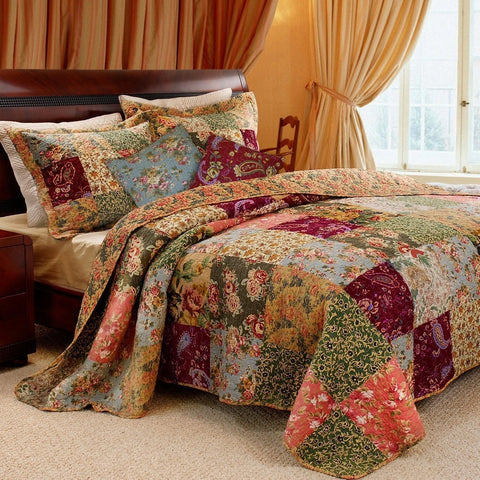 Full / Queen size 100% Cotton Patchwork Quilt Set with Floral Paisley Pattern-Bedroom > Quilts & Blankets-Loluxe