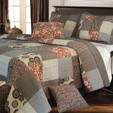 Full / Queen size 100% Cotton Reversible Patchwork Quilt Set-Bedroom > Quilts & Blankets-Loluxe