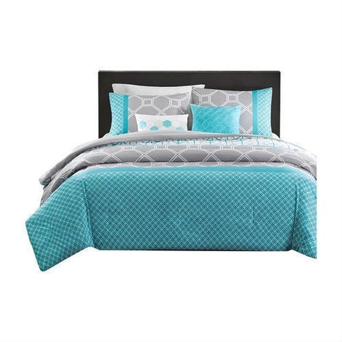 Full / Queen size Aqua Geometric Blue / Gray Comforter Set-Bedroom > Comforters and Sets-Loluxe