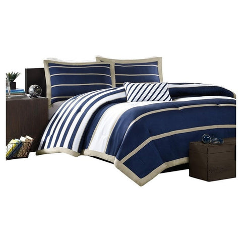 Full / Queen size Comforter Set in Navy Blue White Khaki Stripe-Bedroom > Comforters and Sets-Loluxe
