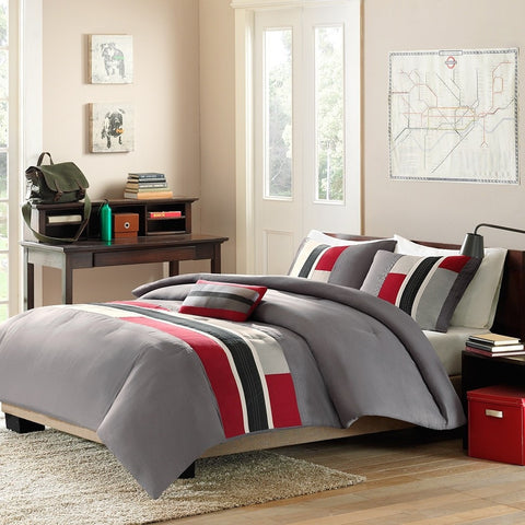 Full / Queen size Contemporary Comforter Set in Red Navy Gray & White-Bedroom > Comforters and Sets-Loluxe