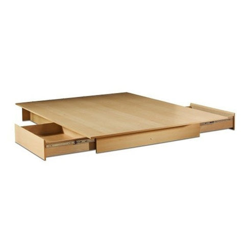 Full / Queen size Modern Platform Bed Frame in Natural Wood Finish-Bedroom > Bed Frames > Platform Beds-Loluxe