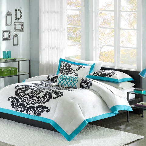 Full / Queen size Modern Teal Damask 3-Piece Comforter Set-Bedroom > Comforters and Sets-Loluxe