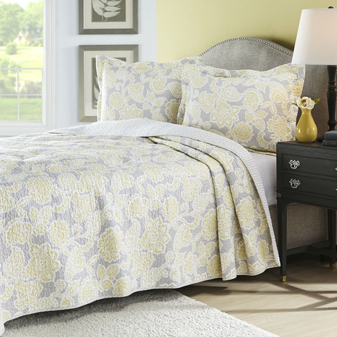 Full / Queen Yellow Gray Floral 100% Cotton Reversible Quilt Coverlet Set-Bedroom > Quilts & Blankets-Loluxe