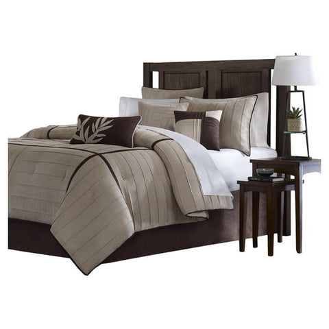 Full size 7-Piece Bed in a Bag Comforter Set in Beige Khaki Brown-Bedroom > Comforters and Sets-Loluxe