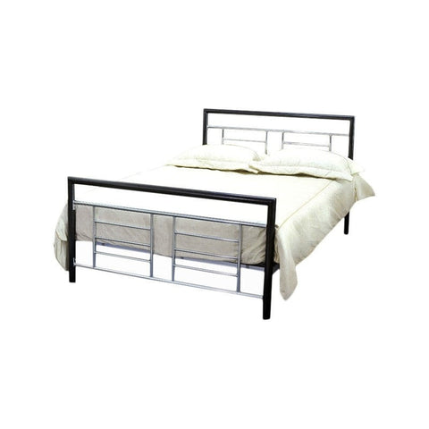 Full size Black Metal Platform Bed with Headboard and Footboard with Silver Accents-Bedroom > Bed Frames > Platform Beds-Loluxe