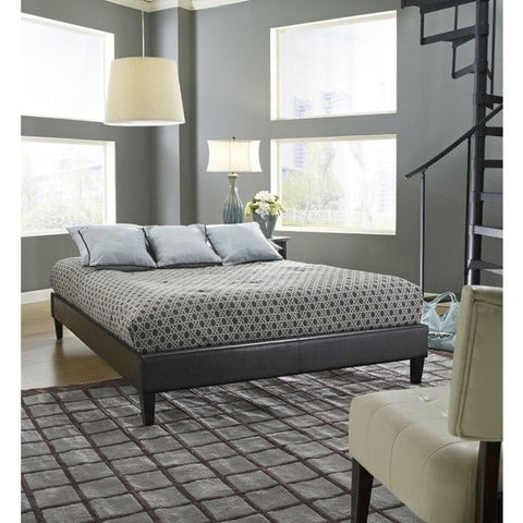 Full size Brown Faux Leather Platform Bed Frame with Wood Slats-Bedroom > Bed Frames > Platform Beds-Loluxe
