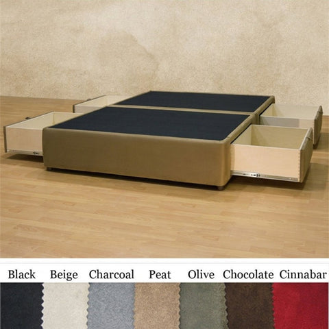 Full size Charcoal Microfiber Upholstered Platform Bed with 4 Storage Drawers-Bedroom > Bed Frames > Platform Beds-Loluxe
