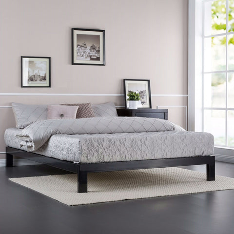 Full size Contemporary Black Metal Platform Bed with Wooden Mattress Support Slats-Bedroom > Bed Frames > Platform Beds-Loluxe