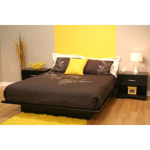 Full size Contemporary Platform Bed in Black Finish-Bedroom > Bed Frames > Platform Beds-Loluxe